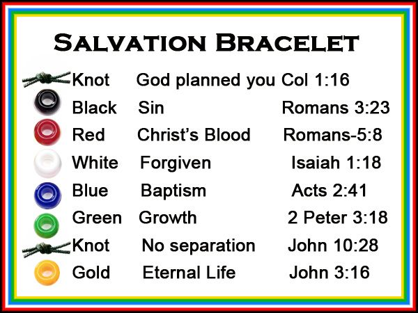 salvation bracelet printable a scriptures card to correlate with each color bead on a 1045