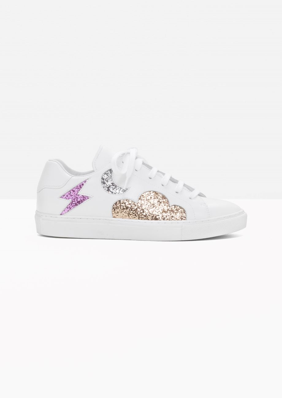 ac4900d6011   Other Stories image 1 of Leather Glitter Sneaker in White