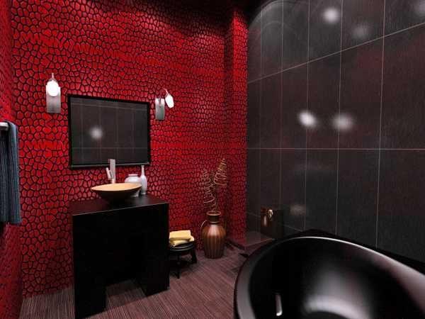 Pin By Johnelle Montgomery On Dark Bathroom Ideas Red Bathroom Decor Bathroom Red Black Bathroom Decor