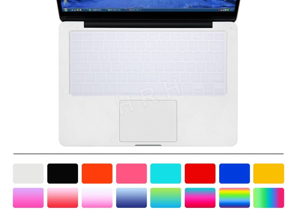 """HRH Transparent clear Silicone Keyboard Cover Skin sticker for English French Spanish German UK/EU MacBook Pro air 13"""" 15"""" 17"""""""