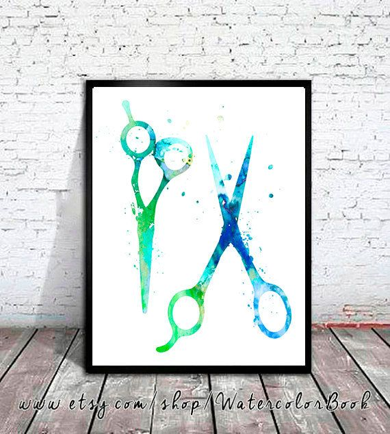 Haircutting Shears Watercolor Print Hair Salon Art Scissors