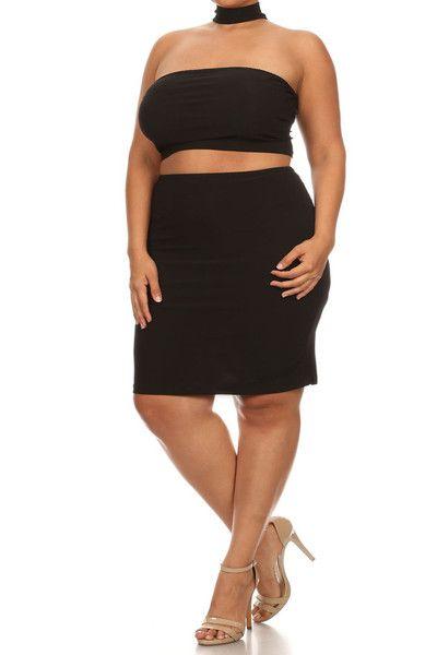 e5fd318632 Strapless Back Zip Up Choker Plus Size Dress