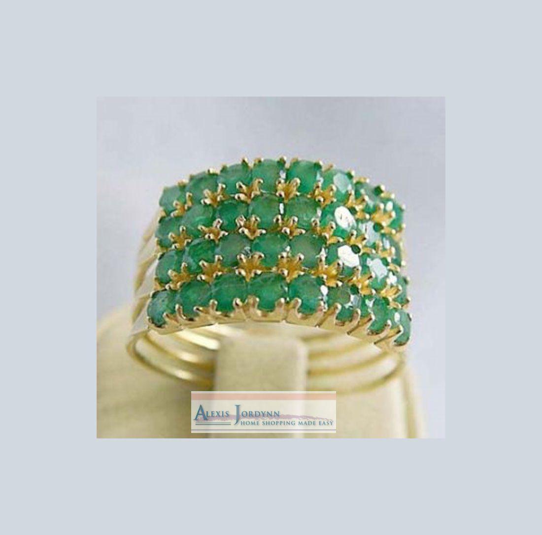 14k Gold Emerald 4 Band Turkish Harem Ring 8 Gems per Band Free SHIP to All | eBay 294