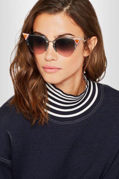 038e435f41 FENDI Classy Embellished cat-eye silver-tone and acetate sunglasses ...