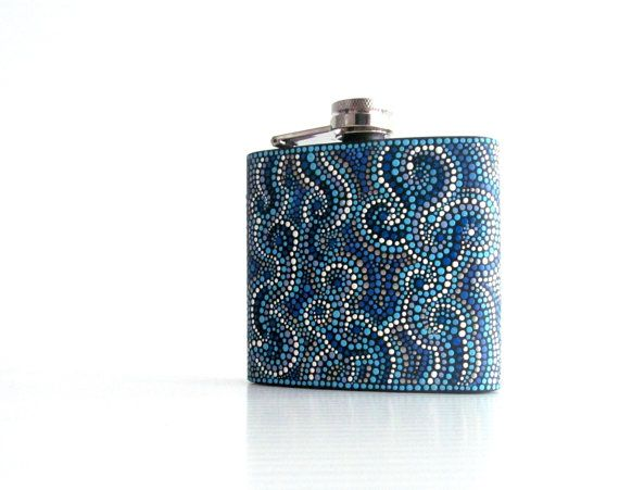 Black And Blue Flask Hand Painted Flask Hip Flask Stainless Etsy Painted Flask Flask Glass Painting
