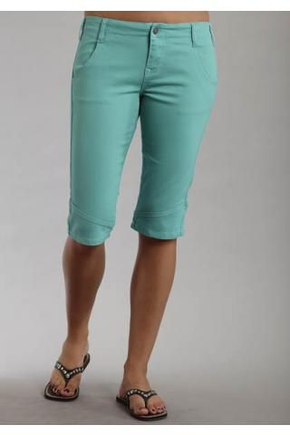 Women's Shorts Green Teal Cotton Spandex Bermuda Shorts Stetson ...