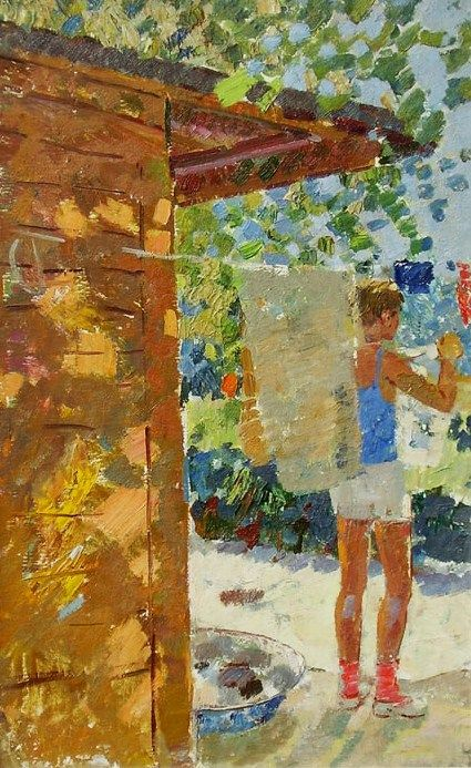 Grigori Andreevich Shponko, Boy Hanging Out Washing, oil on board