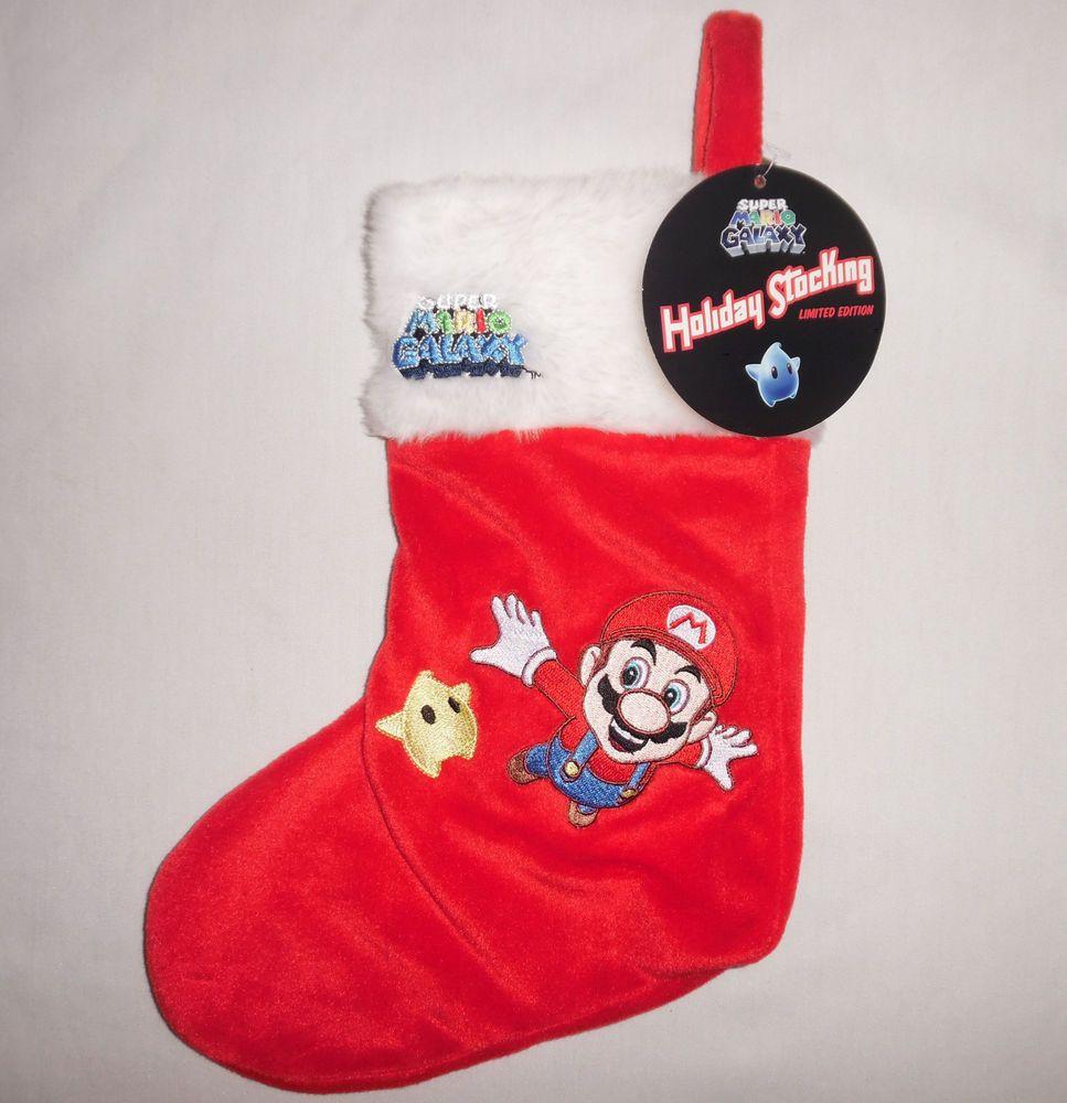Super Mario Christmas Stocking.Super Mario Galaxy Christmas Holiday Stocking Red White