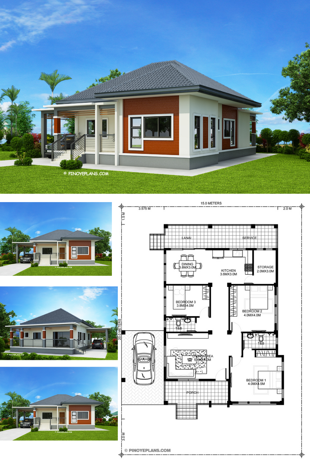 Miranda Elevated 3 Bedroom With 2 Bathroom Modern House Pinoy Eplans Model House Plan Affordable House Plans Modern Bungalow House Plans