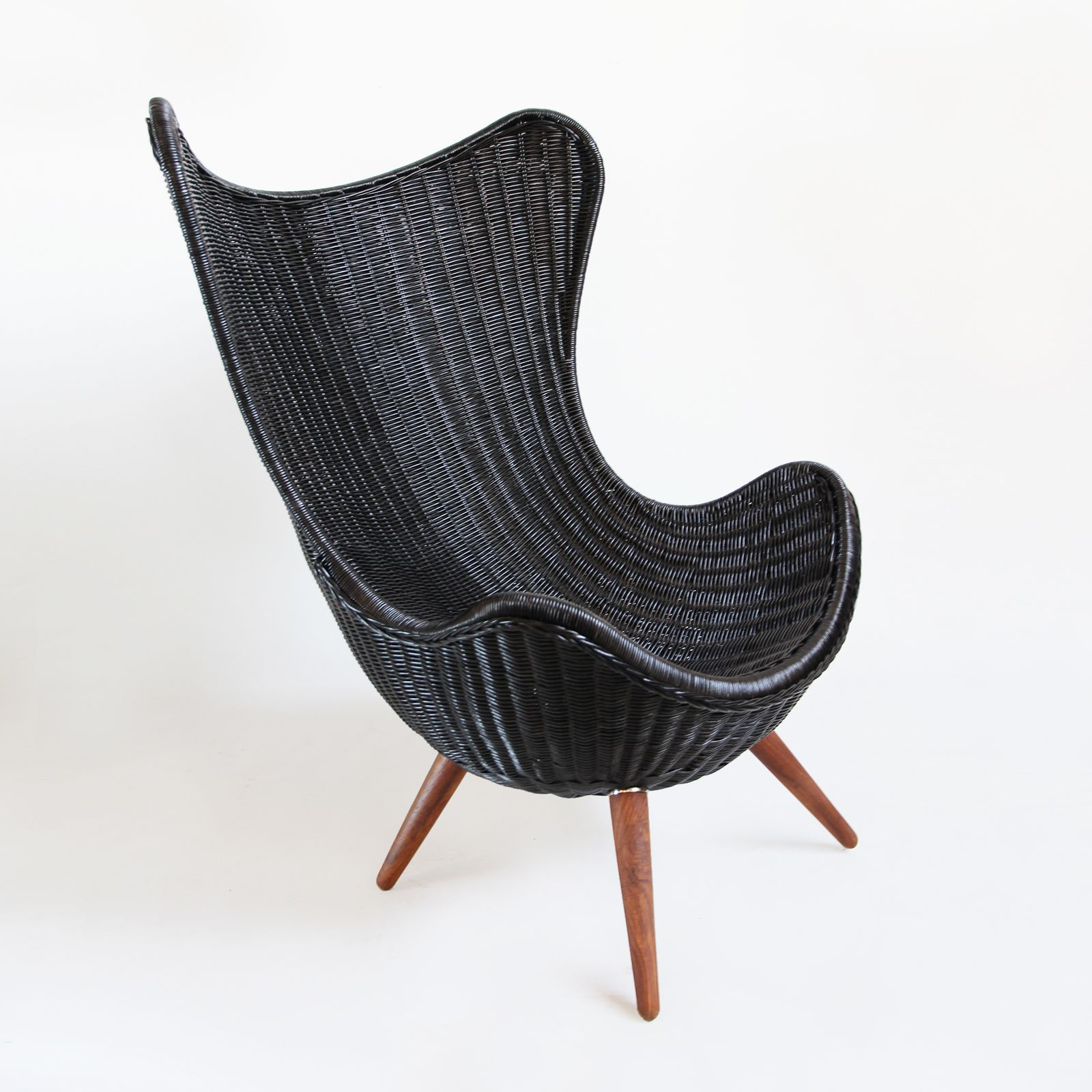 New at MIX! Black stained modern wicker egg chair with