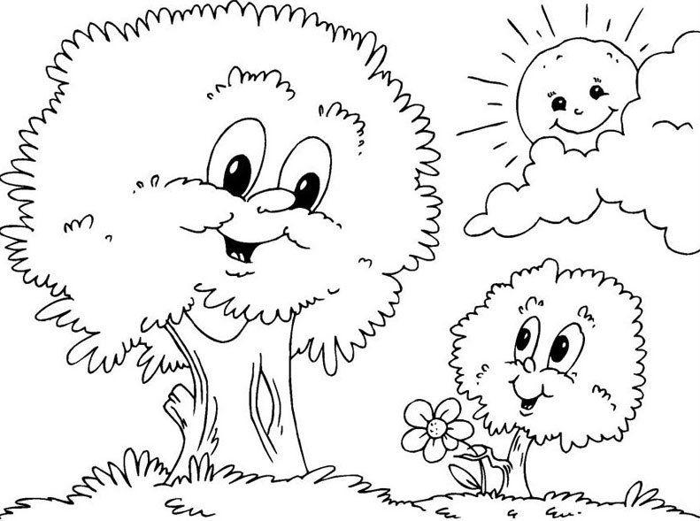 Dibujos de naturaleza. Dibujos infantiles para colorear de ...