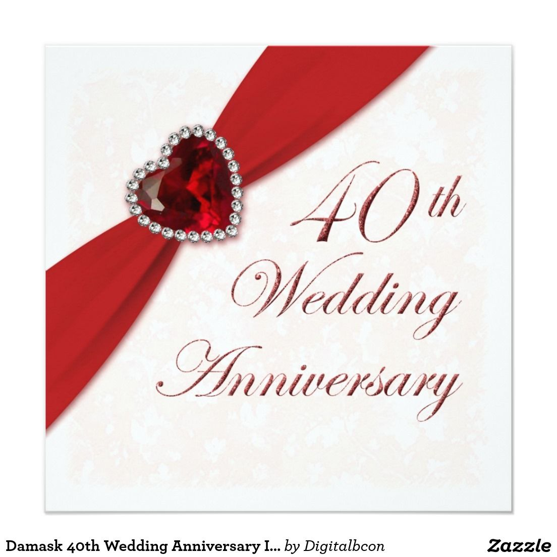 Damask 40th Wedding Anniversary Invitation 5.25\
