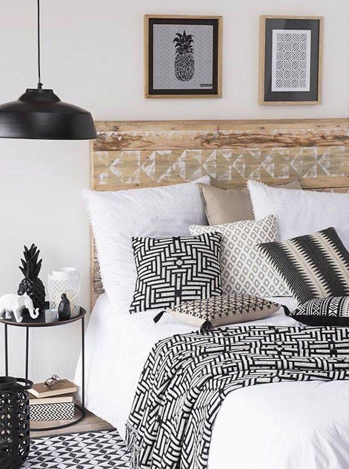 deco ethnique scandinave blanc noir beige bois decoration chambre ...