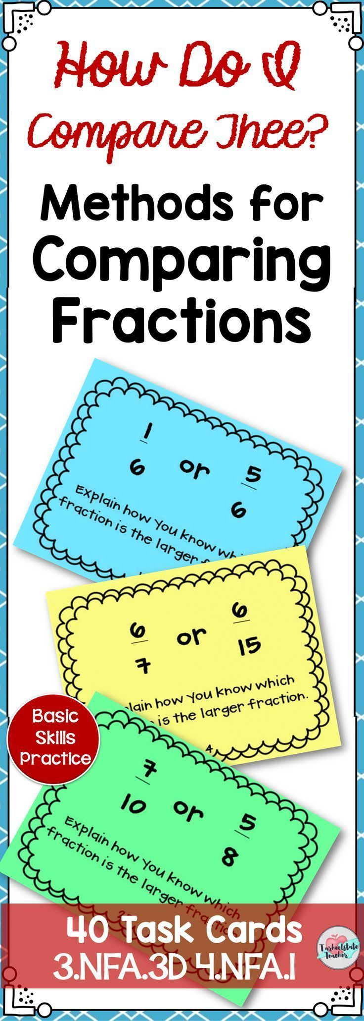 Comparing Fractions and Ordering Fractions Task Cards 3NFA3D 4NFA1 ...