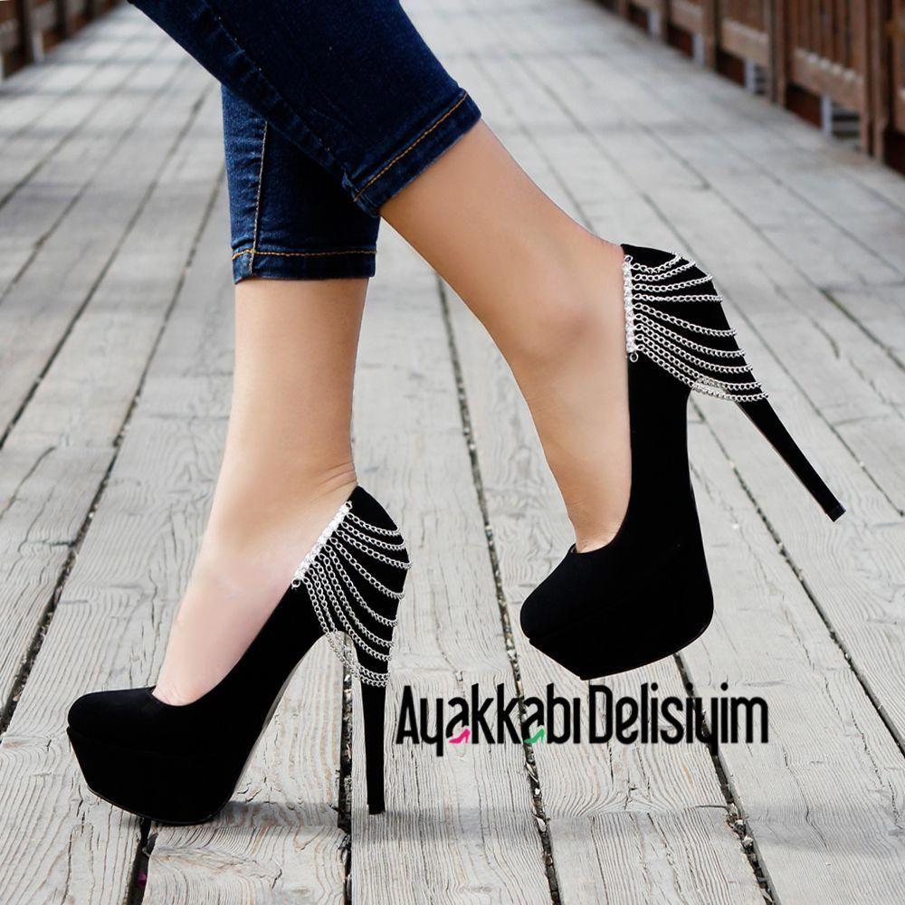 a7a6beda1c47 ... hot heels and boots by craig creasy. Eleni Siyah Zincirli Yüksek  Topuklu Platform Ayakkabı  Platformhighheels