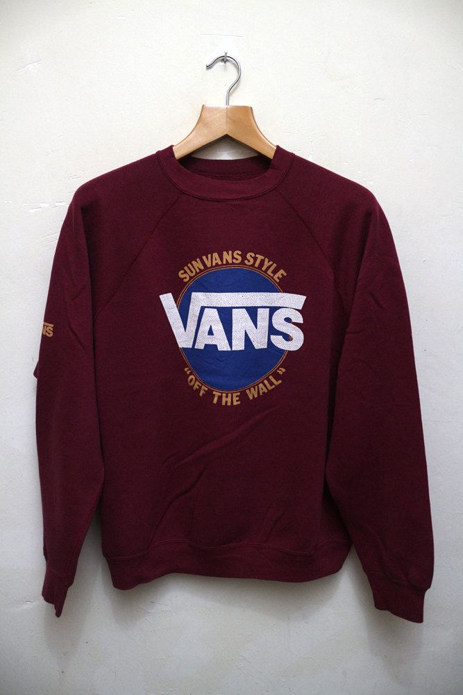 3583c806cb Vintage VANS Of The Wall Sun Vans Style Skate Streetwear Pullover Crewneck Sweater  Sweatshirt Size L by VintageClothingMall on Etsy  vans  offthewall