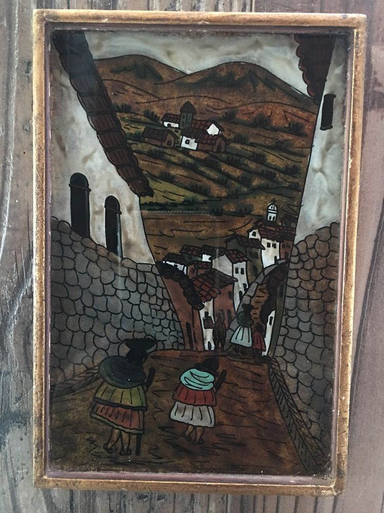 Vintage Peruvian Wall Art Reverse Painting On Glass Framed, Village ...