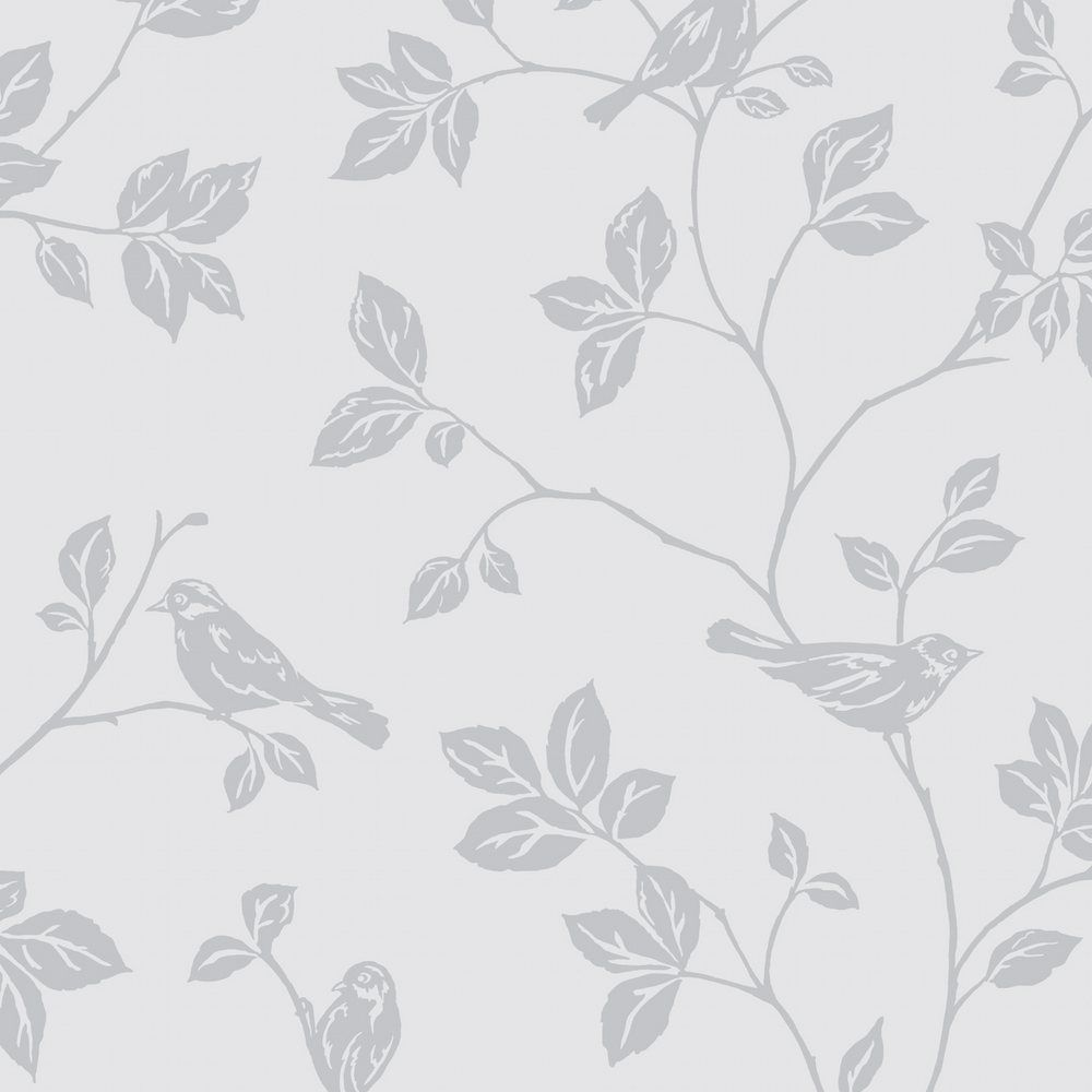 Sparkle Birds from the Glitz collection is a elegant gliter floral leaf  design on a grey
