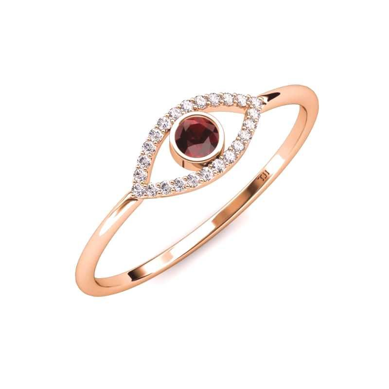 #promise #diamond #garnet #womens #round #rose #gold #evil #ring #035 #ctw #18k #red #eye #and Round Red Garnet and Diamond Womens Evil Eye Promise Ring 0.3...