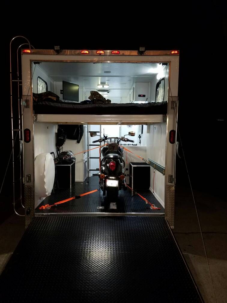 Street Bike Loaded Loft Bed Installed Enclosed Trailer Camper Small Car