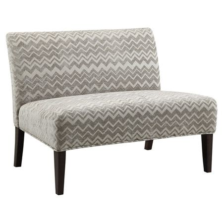 Lend a pop of pattern to your living room or master suite with this stylish settee, showcasing chevron-print upholstery in grey.  Pr...
