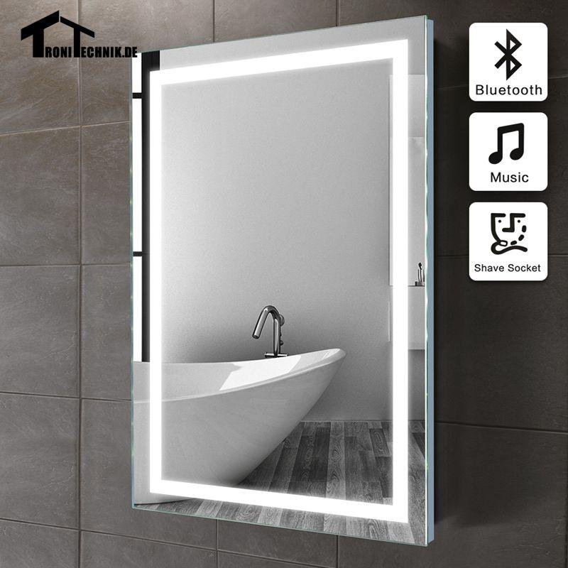 50x70cm Frame ILLUMINATED Mirror Wall Bluetooth Bath In Bathroom LED IP44 E104B 90