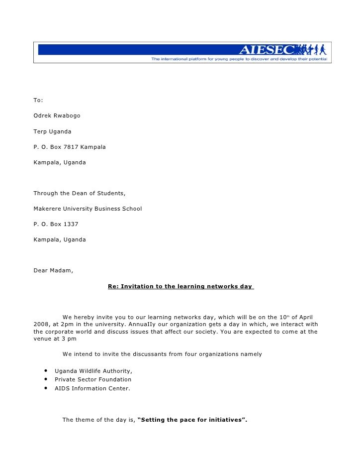 Letter Of Invitation For Guest Of Honour