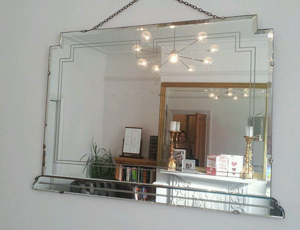 Vintage Beveled Mirror Art Deco 1930 S Retro Frameless