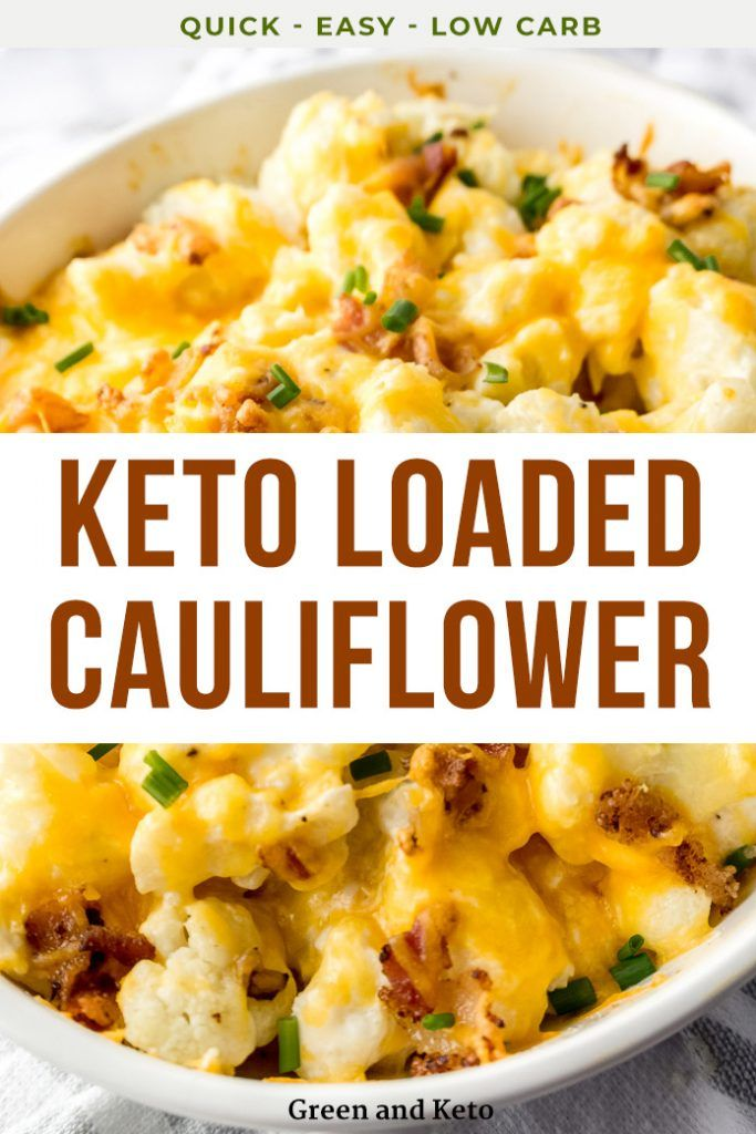 Keto Loaded Cauliflower Casserole - Green and Keto #ketodinnerrecipes