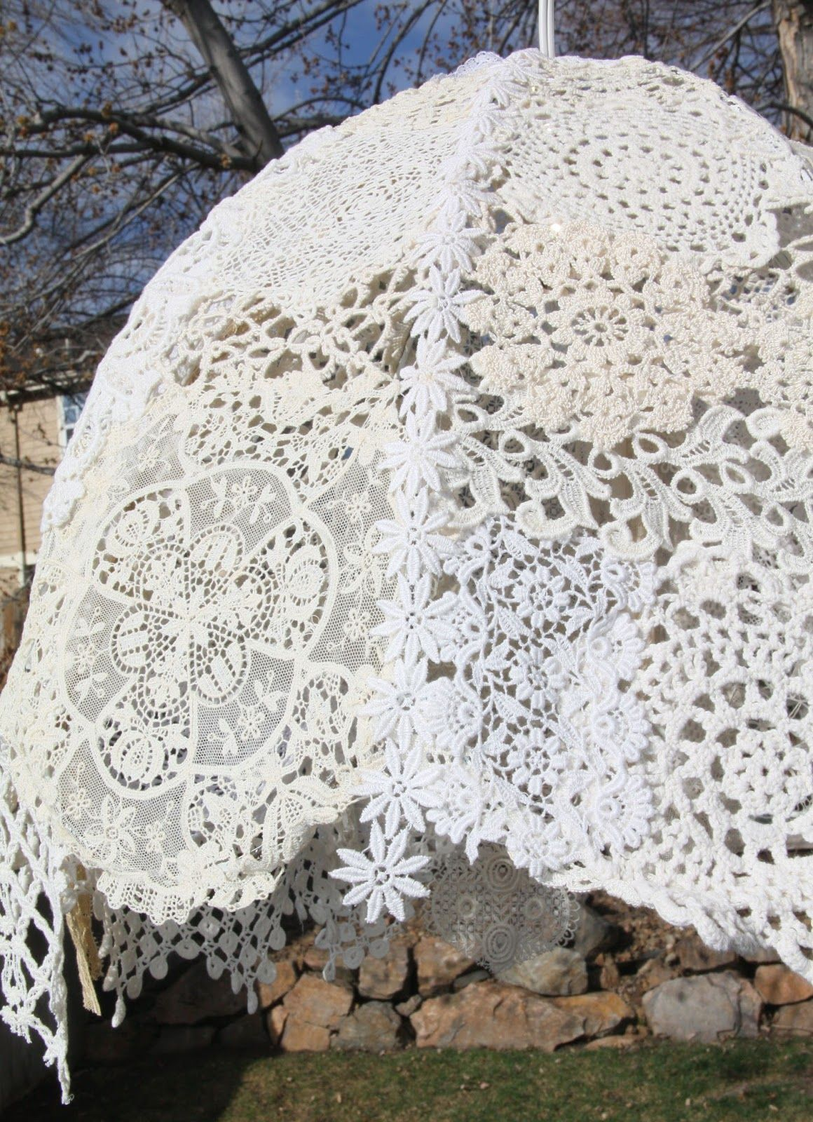 Isa creative musings vintage lace doilies light fixture doilies isa creative musings vintage lace doilies light fixture arubaitofo Images