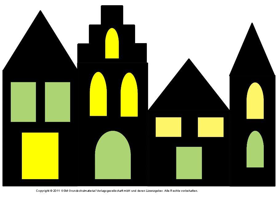 Fensterbild: Häuser Mit Transparentpapier 2