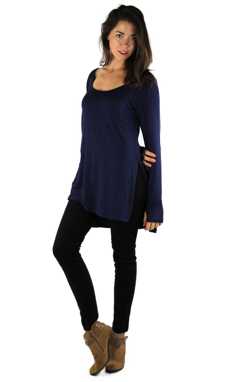 Navy Long Sleeve High Low Tunic Top | Sweater Weather | Pinterest ...