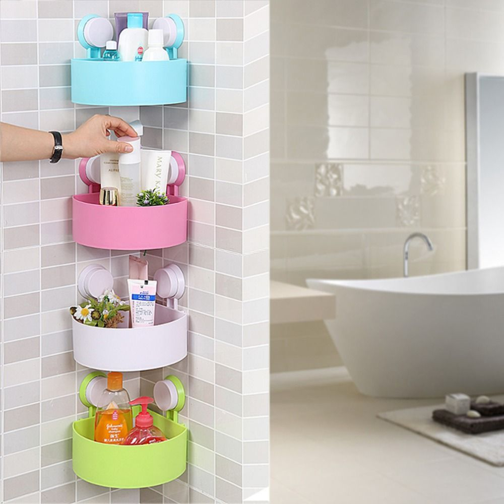 Bathroom Corner Shelf Suction Rack Shower Wall Organizer Storage ...