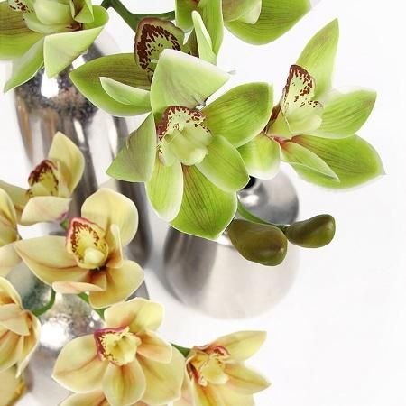 Boat Cymbidium Orchid Stem In Green And Yellow 29 Tall Cymbidium Orchids Orchids Artificial Flowers