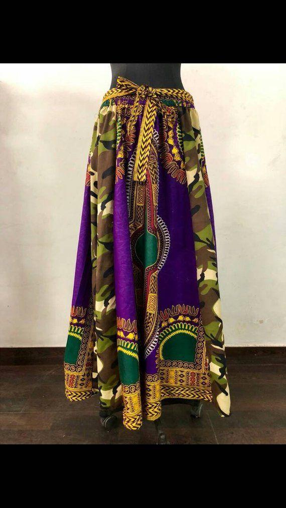 730a7d81436d1 Women's Maxi Skirt African CAMO Ankara Print Elastic Waist Long ...