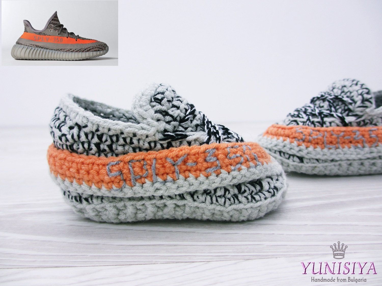 17bc9c56123 Men s slippers The Yeezy Boost 350 V2 Slippers Street Shoes Yeezy 750 Boost  Grey Slippers Shoes Crocheted slippers athletic shoes BB113 by Yunisiya on  Etsy