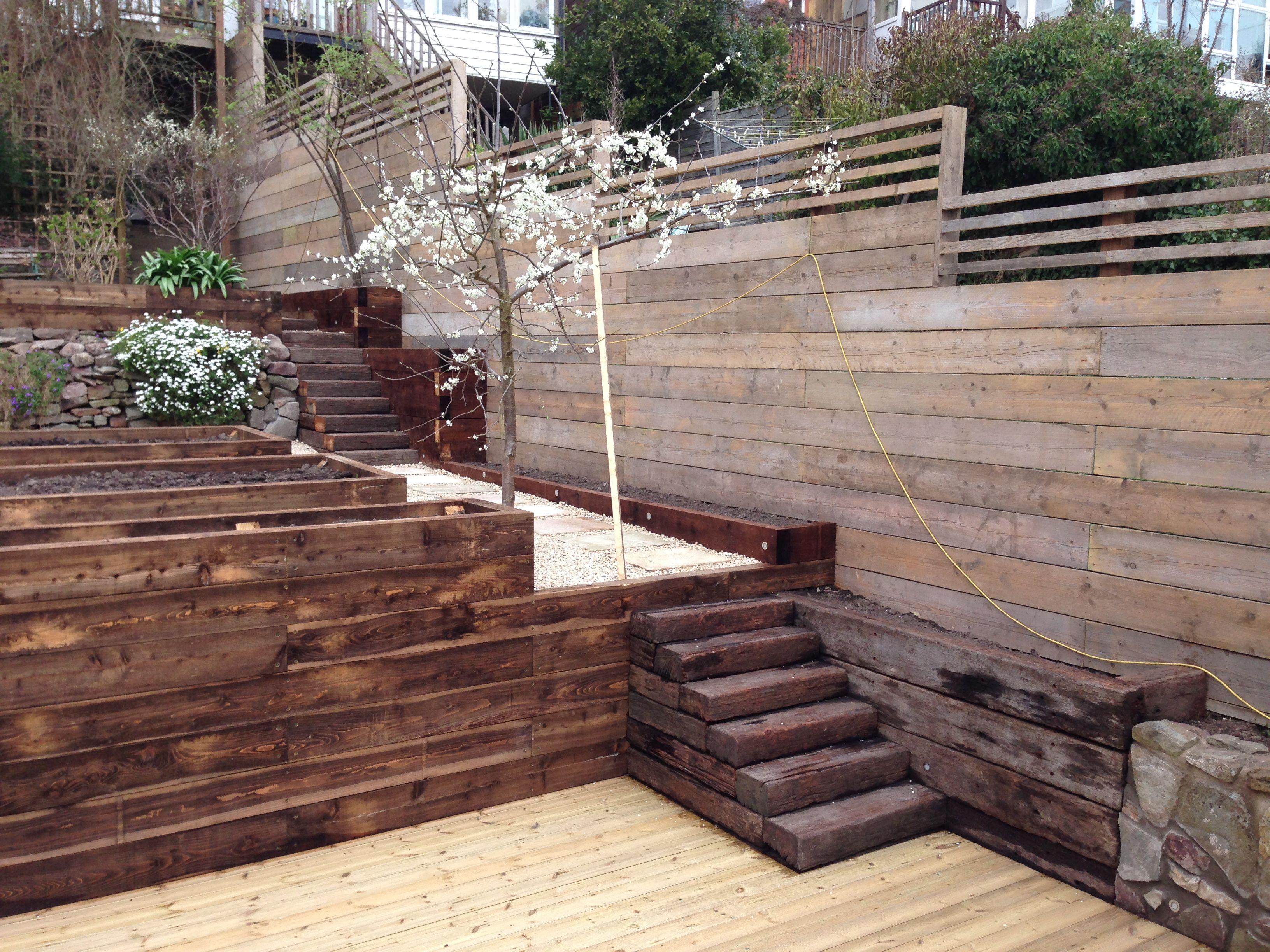 Reclaimed scaffold board fence An awkward heavily