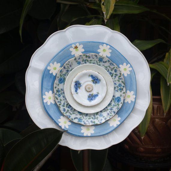 Blue Daisies Roses Chintz Repurpose Glass Plate by ARTfulSalvage, $43.00