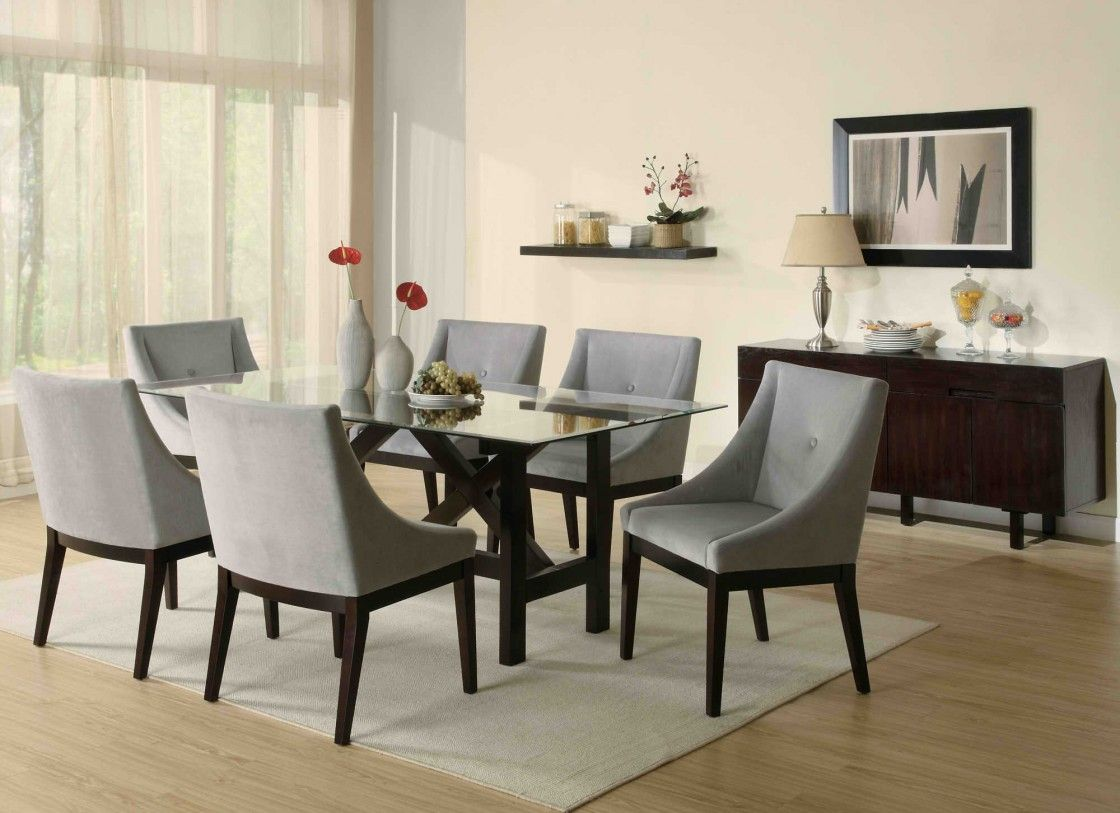 Captivating Dining Room Design Presenting Rectangle Glass Dining Table With  Dark Varnished Hardwood Frame And Interesting
