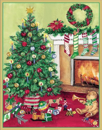 Caspari Christmas Cards.Caspari Tree With A Fireplace 16 Ct Box Christmas Holiday