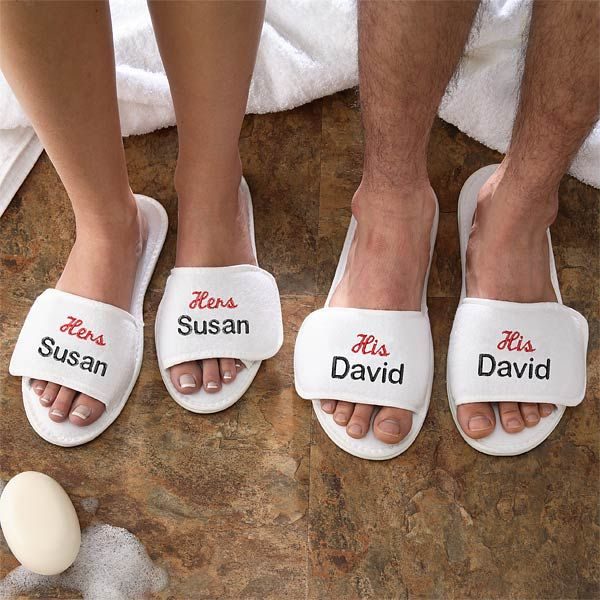 9cb6d1253b Personalized His and Hers Terry Spa Slippers Set - they also have matching  robes. Great wedding or anniversary gift! $19.95 each pair.