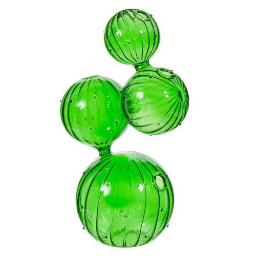 Vaso Cactus in vetro verde H 26 cm