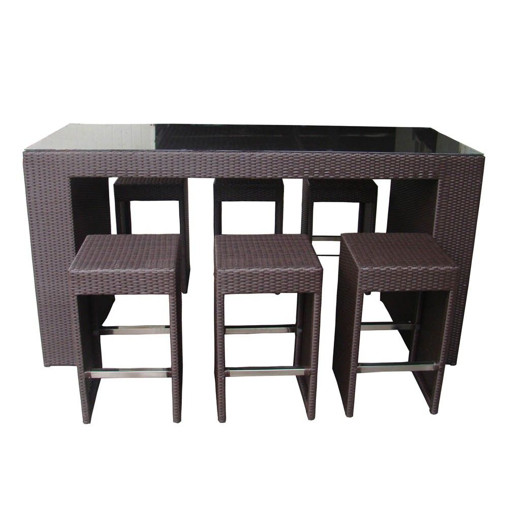 Margarita High Top Table Dining And Bar Set Black Wicker Home