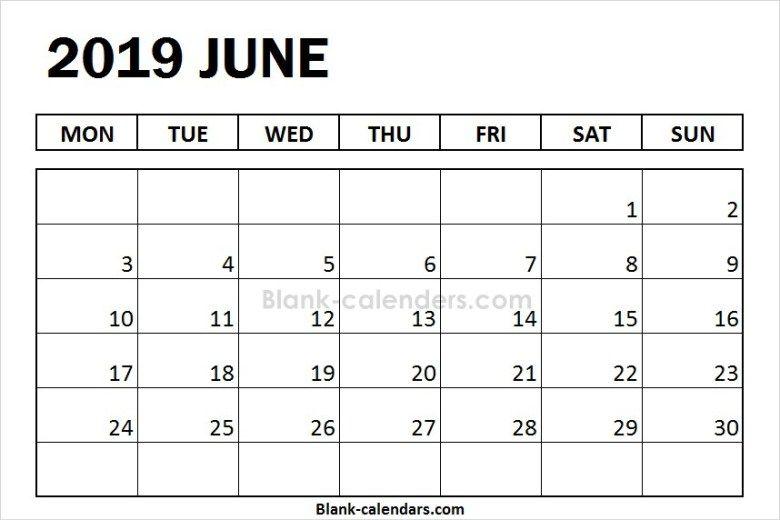 Blank June Calendar 2019 Printable Images August Calendar July