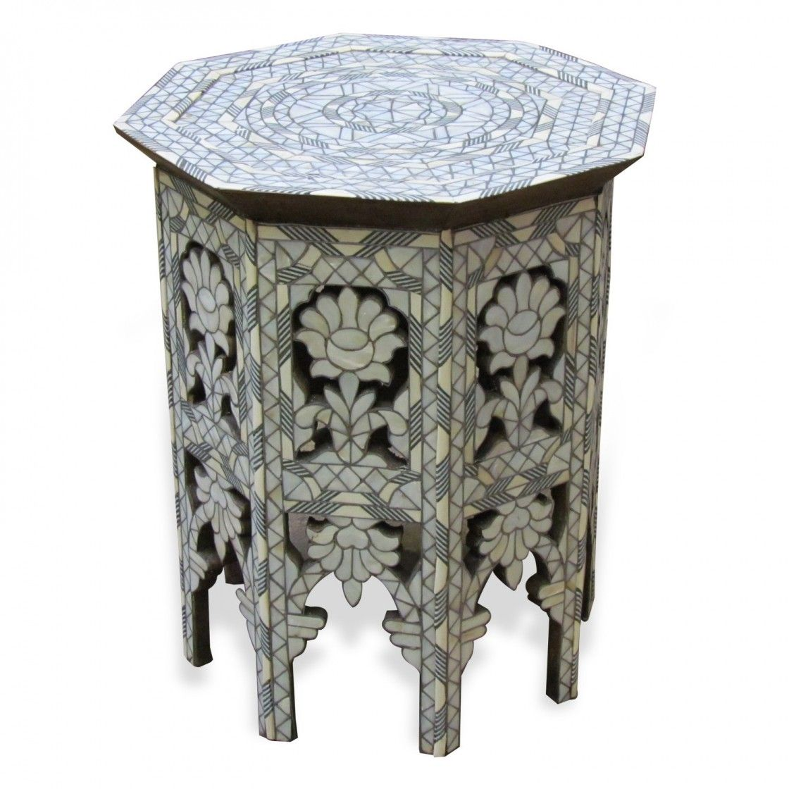 Beautiful Light Grey Floral Mosaic Pattern Moroccan Syrian Furniture Side  Table Of Pearl Style With White