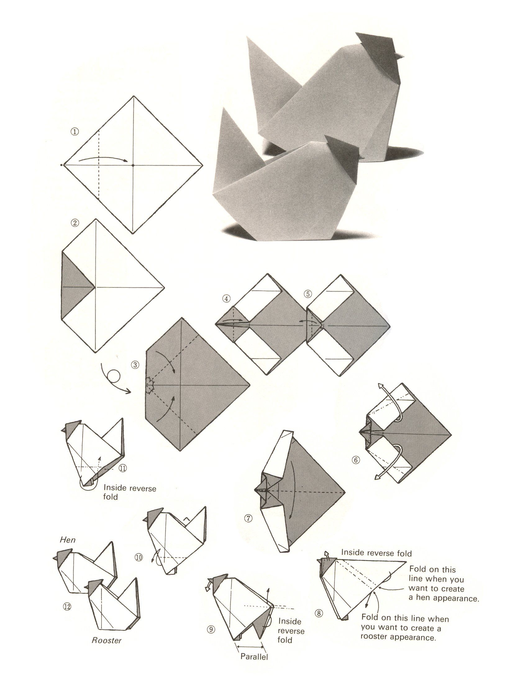 3d origami for kids: origami chicken instructions | 2200x1700