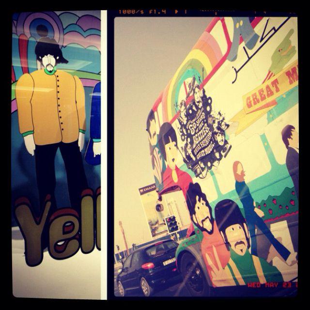 "The Harvey Nichols Dubai ""Beatles"" special edition double decker buses..."