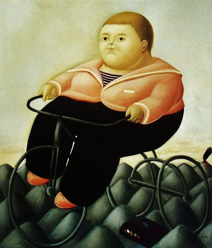 Bien-aimé Boy with Bicycle. by Botero | Botero, Fernando - Paintings  JL45