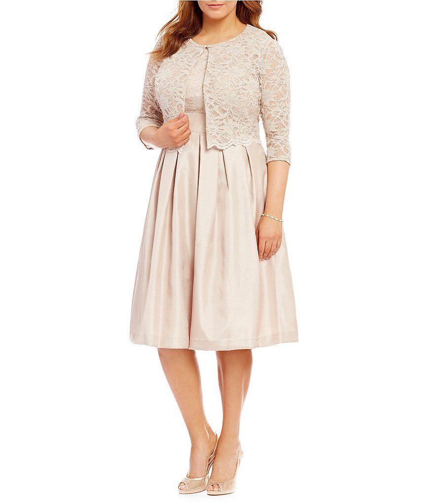 Beigejessica howard plus scalloped trim lace 2 piece jacket dress plus dresses dillards 2 piece ombrellifo Gallery