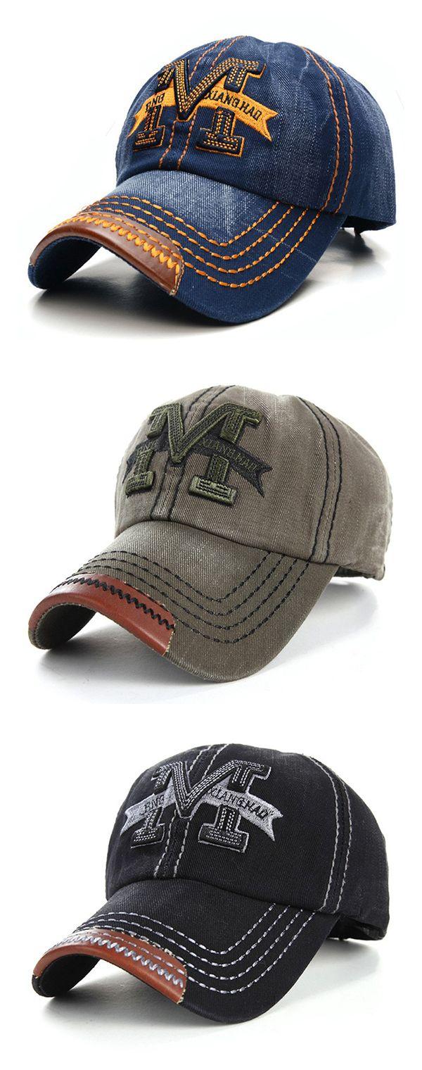 US 7.60 (48% OFF) Men Women Embroidery M Cowboy Sun Hat Adjustable Snapback 59f0ec12f1c